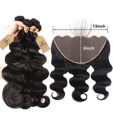Peruvian Body Wave Hair 4 Bundles With 13*6 Lace Frontal Affordable 100% Virgin Hair