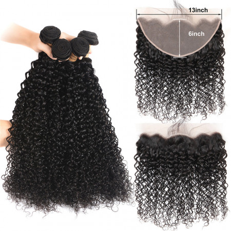 Curly Weave 4 Bundles With 13*6 Ear To Ear Lace Frontal Kinky Curly Hair
