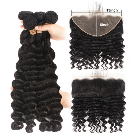 Loose Deep Wave Virgin Hair 4 Bundles With Lace Frontal 13*6 Inch Swiss Lace