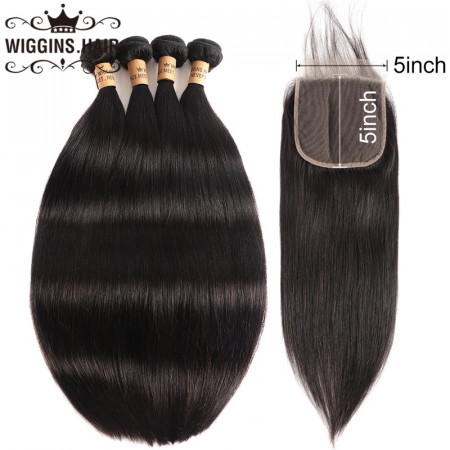 New Arrival 8A Grade Straight Hair 4 Bundles With 5*5 Lace Closure