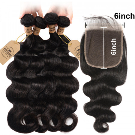 Free/Middle/Three Part Human Hair Body Wave 4 Bundles With 6*6 Lace Closure