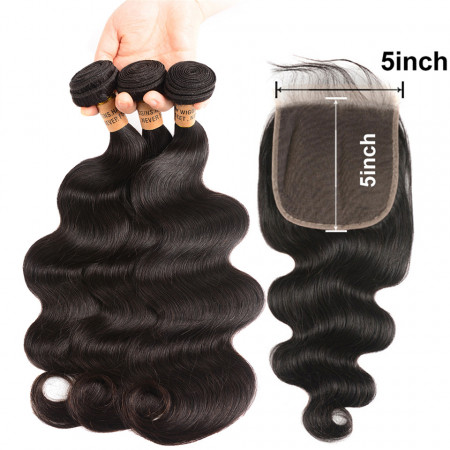 Body Wave Hair 3 Bundles With 5*5 Closure New Arrival 8A Grade Hair