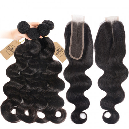 Human Hair Virgin Weave Body Wave Weave 4 Bundles With 2*6 Lace Closure