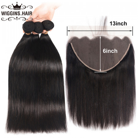 Straight Hair Bundles With 13*6 Lace Frontal