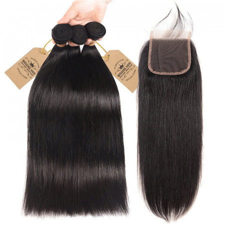 3pcs Bundles Brazilian Virgin Hair Straight With 4*4 Free Part Lace Closure