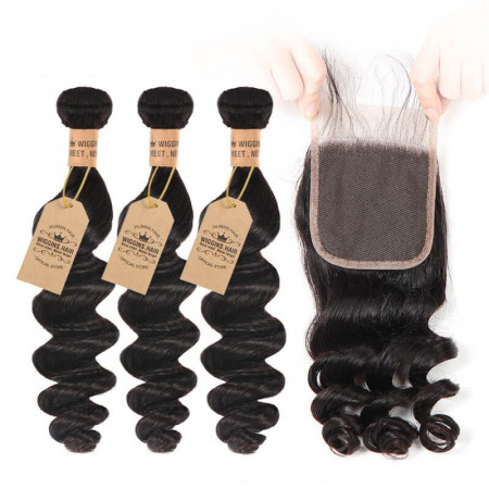 Loose Wave Virgin Hair 3 Bundles With Lace Closure Human Hair