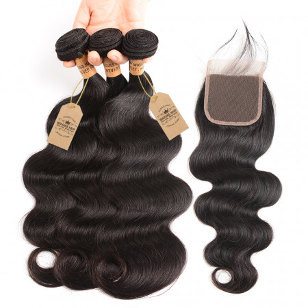 Body Wave Weave 3 Bundle Hair Deals With Lace Closure Peruvian Hair