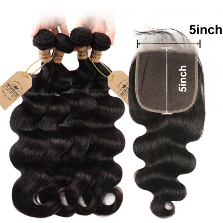 Body Weave Wave 4pcs With 5*5 Lace Closure With Baby Hair Human Hair Closure
