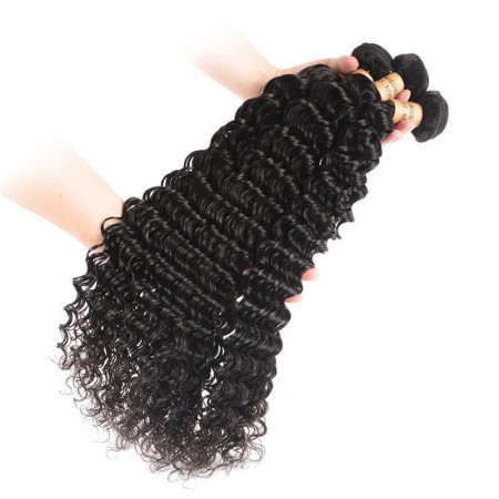 8A Virgin Brazilian Deep Wave Hair 3 Bundles Human Hair Weave