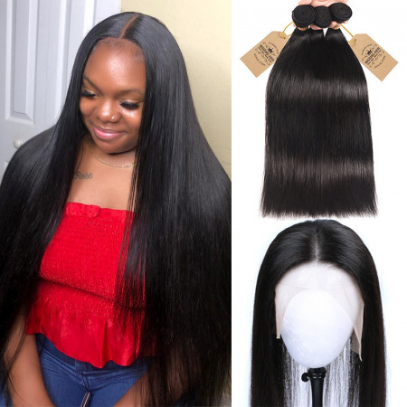 Straight Hair Bundles 3pcs With 13*6 Lace Frontal With Baby Hair