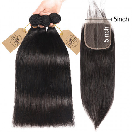 Straight Hair 3pcs With 5*5 Closure Human Hair Swiss Lace Closure 10-20 Inch