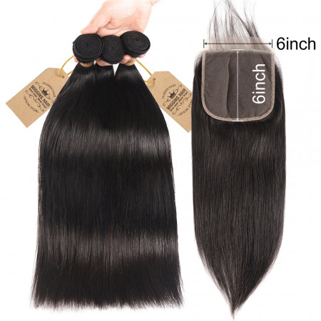 Unprocessed Straight Virgin Hair 3 Bundles With 6*6 Lace Closure Free Part