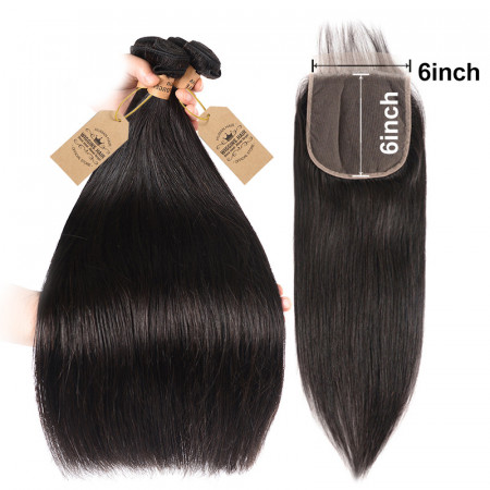 Virgin Hair Straight 4 Bundles With 6*6 Lace Closure Free/Middle/Three Part