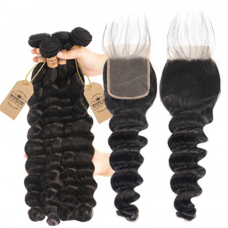 Loose Deep 4pc Weaves With Closures 4*4 Lace Closure Human Hair Extensions