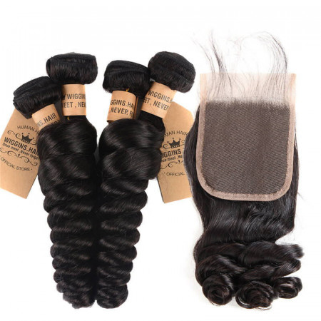 Brazilian Virgin Hair Loose Wave Weave 4 Bundles And 4*4 Lace Closures