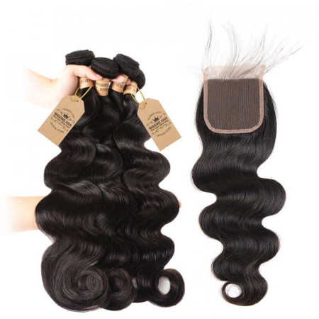 Brazilian Body Wave Weave Human Virgin Hair 4pcs With Lace Closure