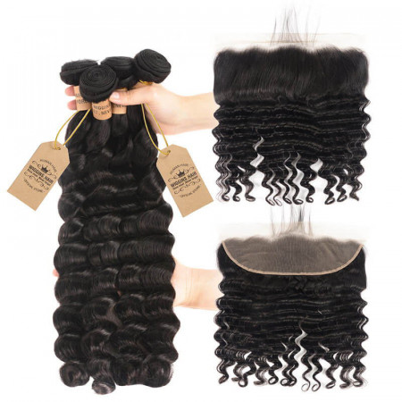 4pcs Brazilian Virgin Hair Loose Deep Wave With 13x4 Lace Frontal