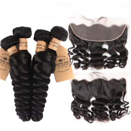 Peruvian Virgin Hair 4pcs Loose Wave With 13*4 Lace Frontal Closure