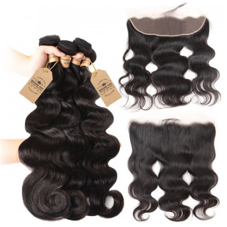 Brazilian Virgin Hair Body Wave 4 Bundles With 13x4 Lace Frontal Human Hair
