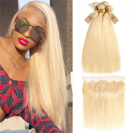 613 Blonde Extensions Straight Hair