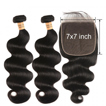 Body Wave 2 Bundles With 7*7 Lace Closure 100% Human Hair Natural Color