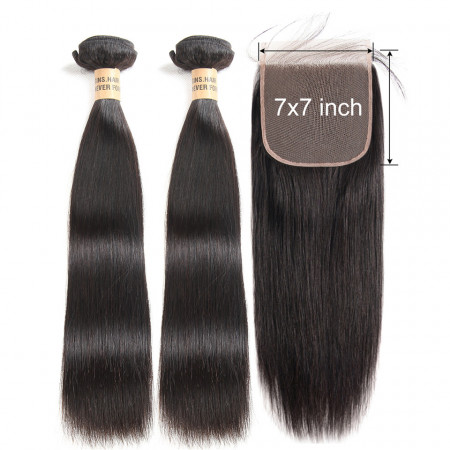 Straight Human Hair 2 Bundles With Lace Closure 7*7 Swiss Lace Closure