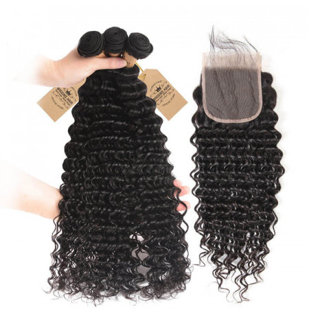 Deep Wave Virgin Hair Weave 3 Bundles With Lace Closure Soft