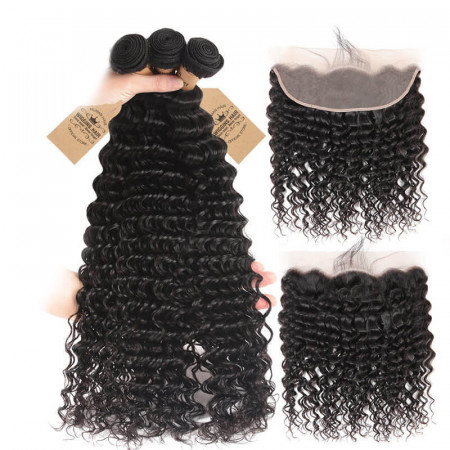 Deep Wave 3 Bundles With Lace Frontal Closure 13x4 Virgin Human Hair