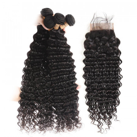 Brazilian Virgin Hair Deep Wave 4×4 Lace Frontal Closure With Bundles