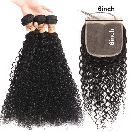 Brazilian Curly Hair 3 Bundles With 6*6 Lace Closure Free/Middle/Three Part