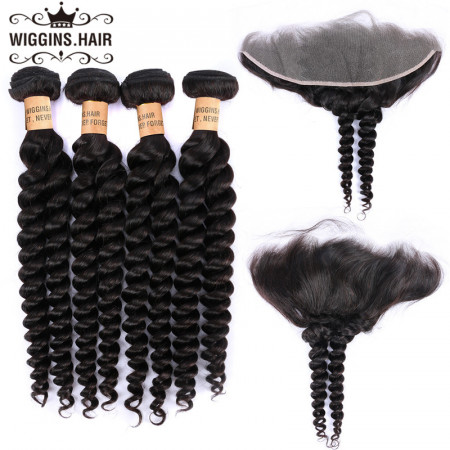Human Hair 8A Grade Loose Wave Braids 4 Bundles With Lace Frontal