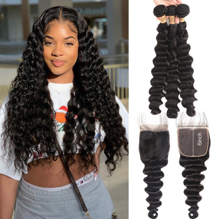 100% Virgin Hair Loose Deep Wave 3 Bundles With 6*6 Lace Closure New Arrival