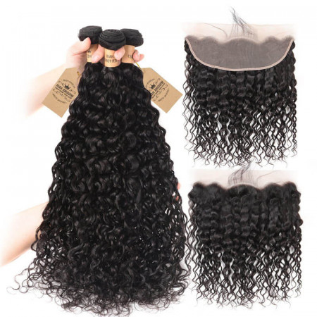 Natural Wave 3 Bundles With 13*4 Lace Frontal Brazilian Virgin Hair