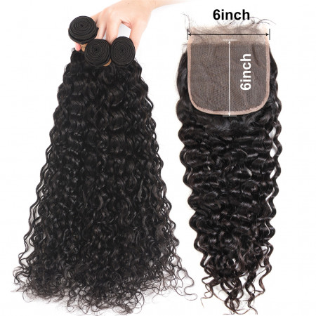 Virgin Human Hair Brazilian Natural Wave 3 Bundles with 6*6 Lace Closure