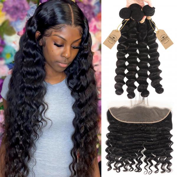 4pcs Brazilian Virgin Hair Loose Deep Wave With 13x4 Lace Frontal Wigginshair