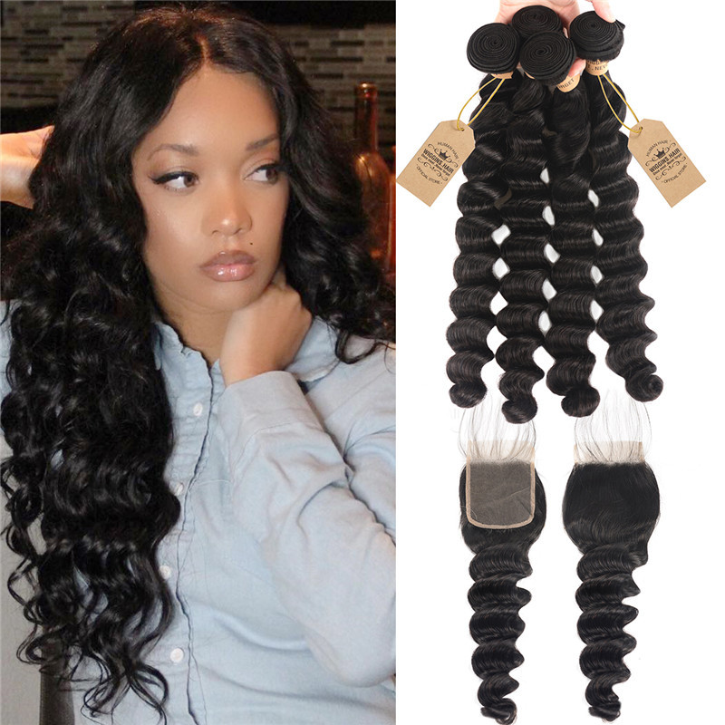 Loose Deep 4pc Weaves With Closures 4 4 Lace Closure Human