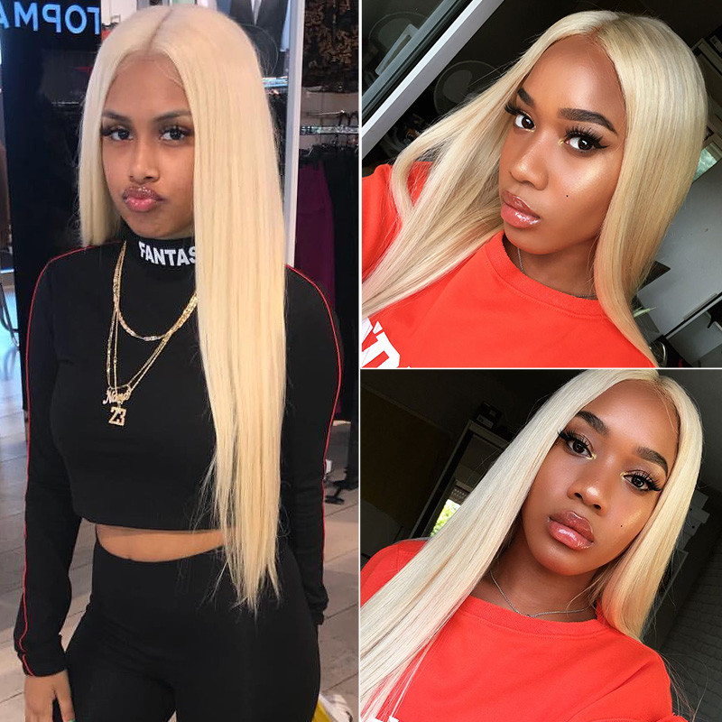 Lace Frontal Wigs Blonde Color Hair Wig 613 Best Straight