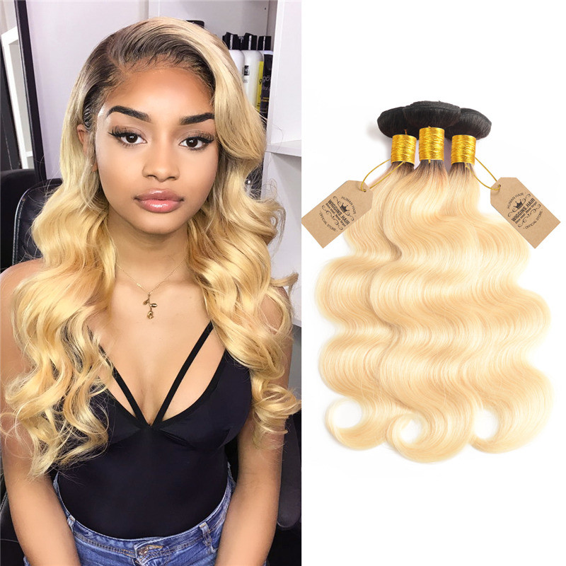 e25bcb9c69d Body Wave Ombre Color 1B/613 Blonde Hair 3 Bundles/Packet 12-24 Inches
