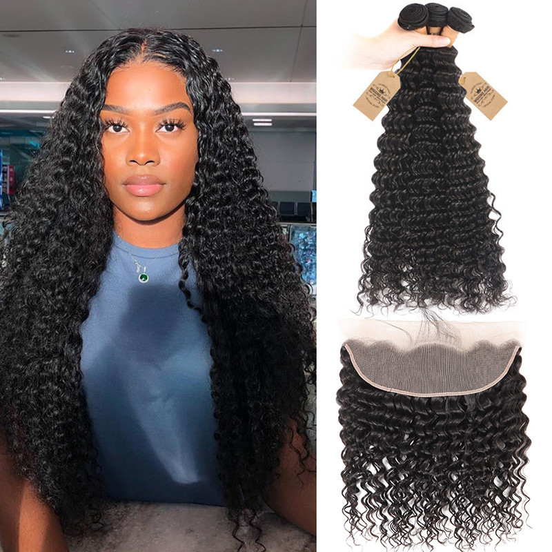 Deep Wave 3 Bundles With Lace Frontal Closure