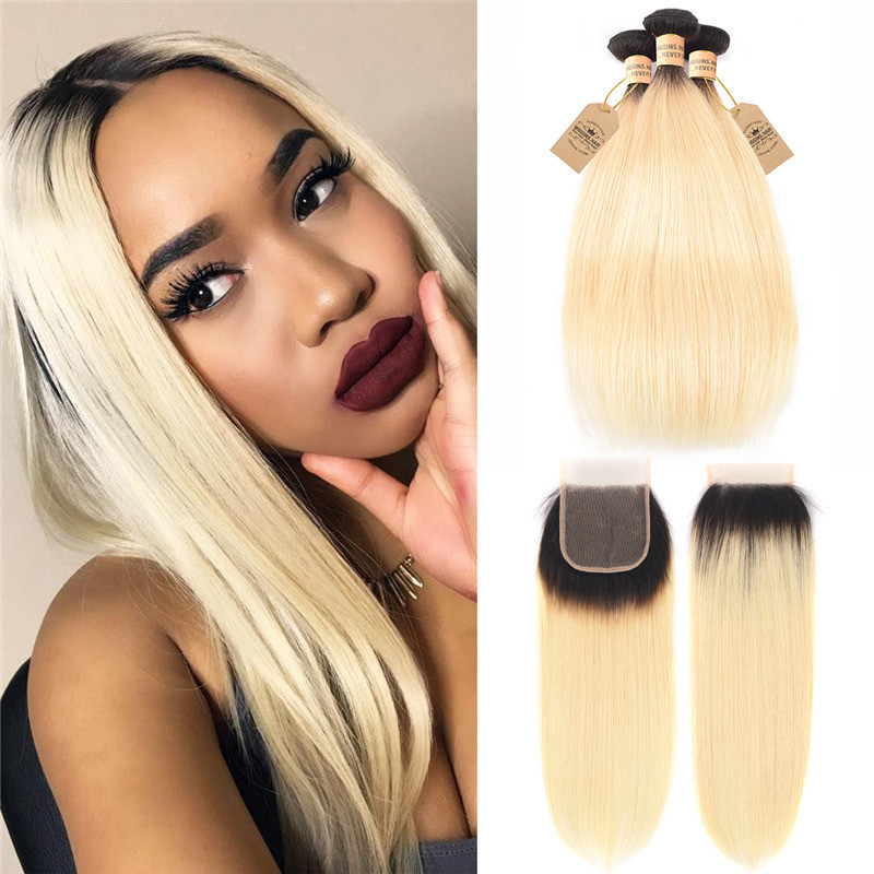 1b 613 Color Ombre Hair Straight Bundles With Closure On