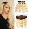 Ombre Hair 1B/613 Color Body Wave Weave 4pcs With Lace Frontal