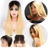 Ombre Blonde 1B/613 Straight Lace Front Wig 150% 180% 200% 250% Density