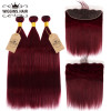 #99J Pure Color Brazilian Hair Weave 3 Bundles With Lace Frontal Straight Hair