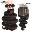 Body Wave Weaves 3 Bundles With 6*6 Lace Closure Brazilian Virgin Hair