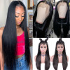 150% 180% 200% Density Human Virgin Straight Lace Front Wigs