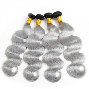 4pcs 1B/Grey Color Ombre Human Virgin Hair