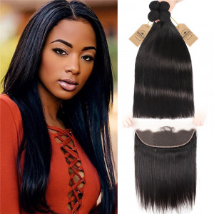 Straight Hair Bundles With Lace Frontal