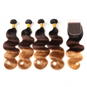 4pcs With Lace Closure