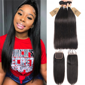 Straight Hair With Closure 3 Bundles
