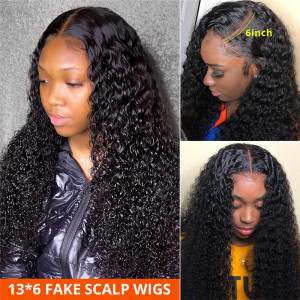 Curly 13*6 Fake Scalp Wigs